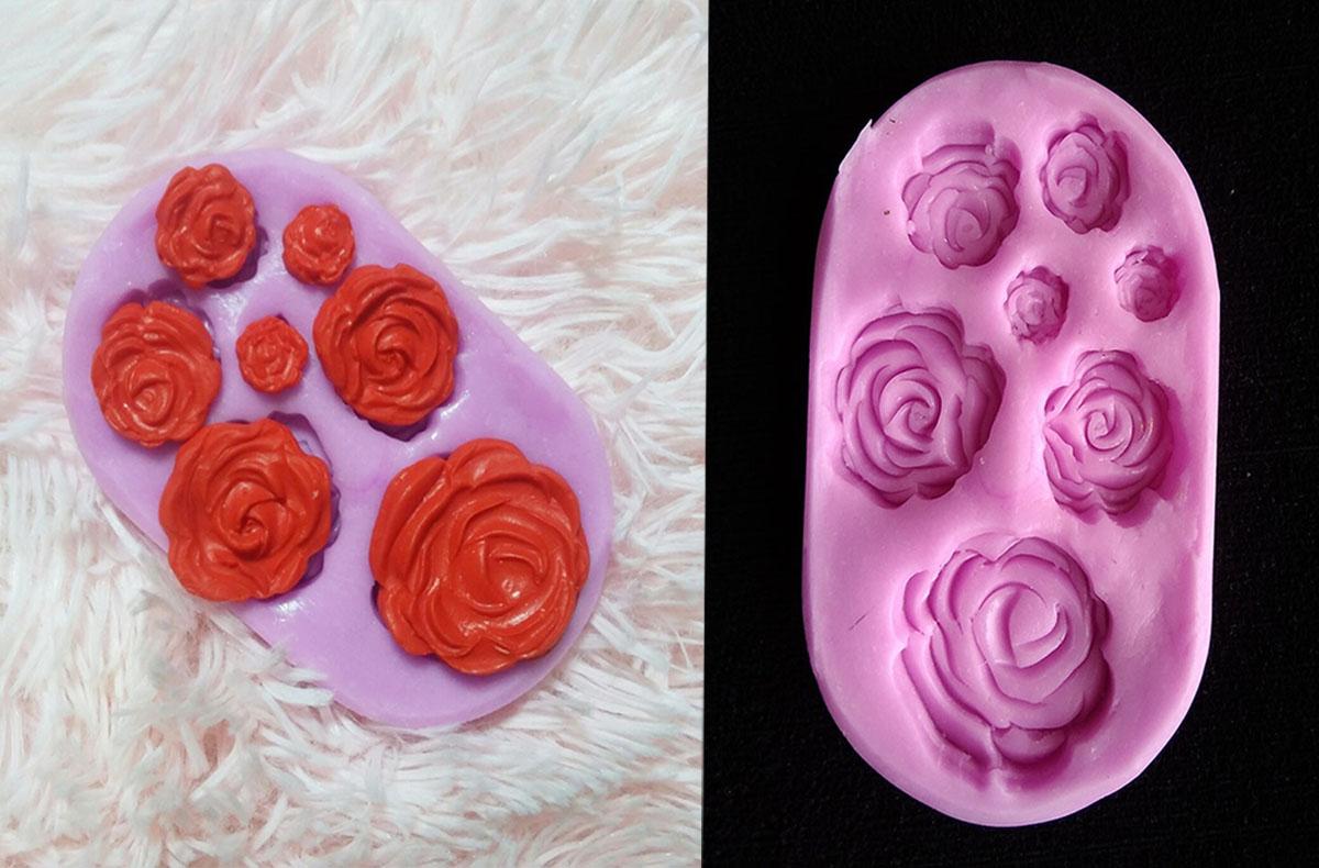 Molde en silicona para apliques de rosas en fondant y pasta fría