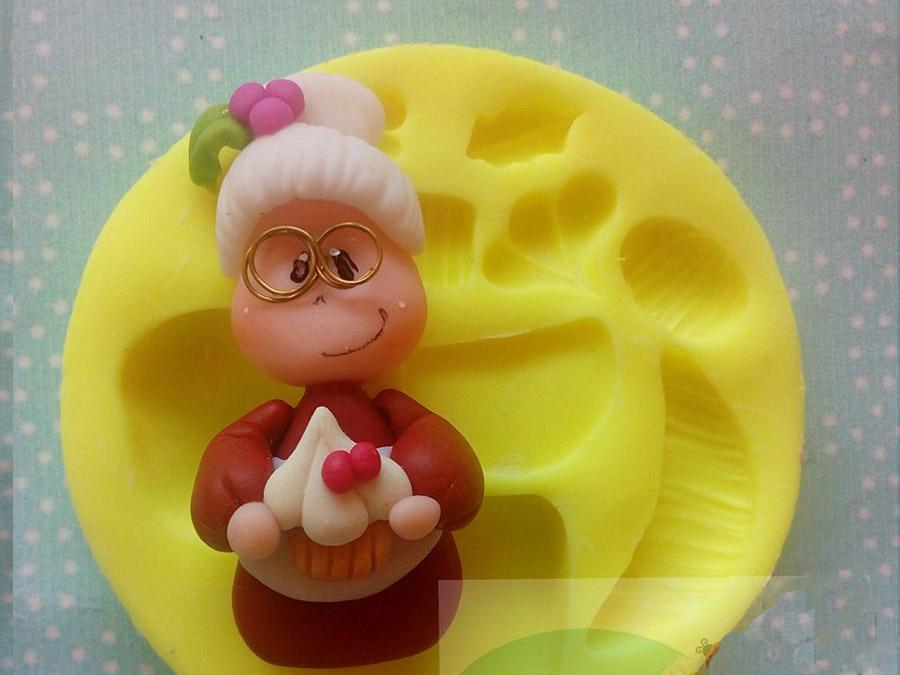 molde silicona señora claus para porcelanicron pasta fria