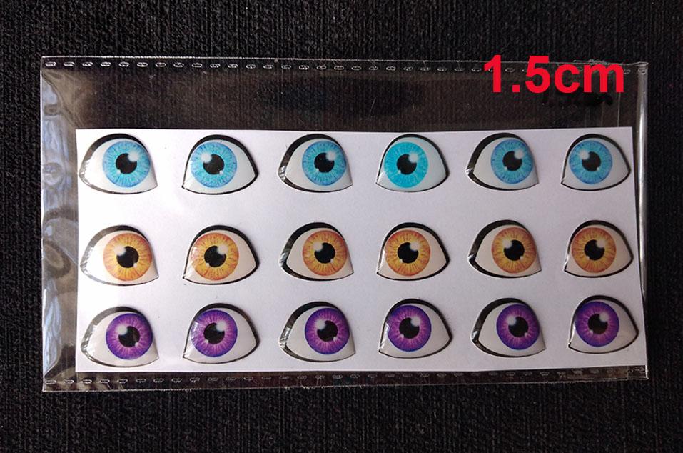Ojos adhesivos Resinados de 1.5cm para muñecos apliques y artesa