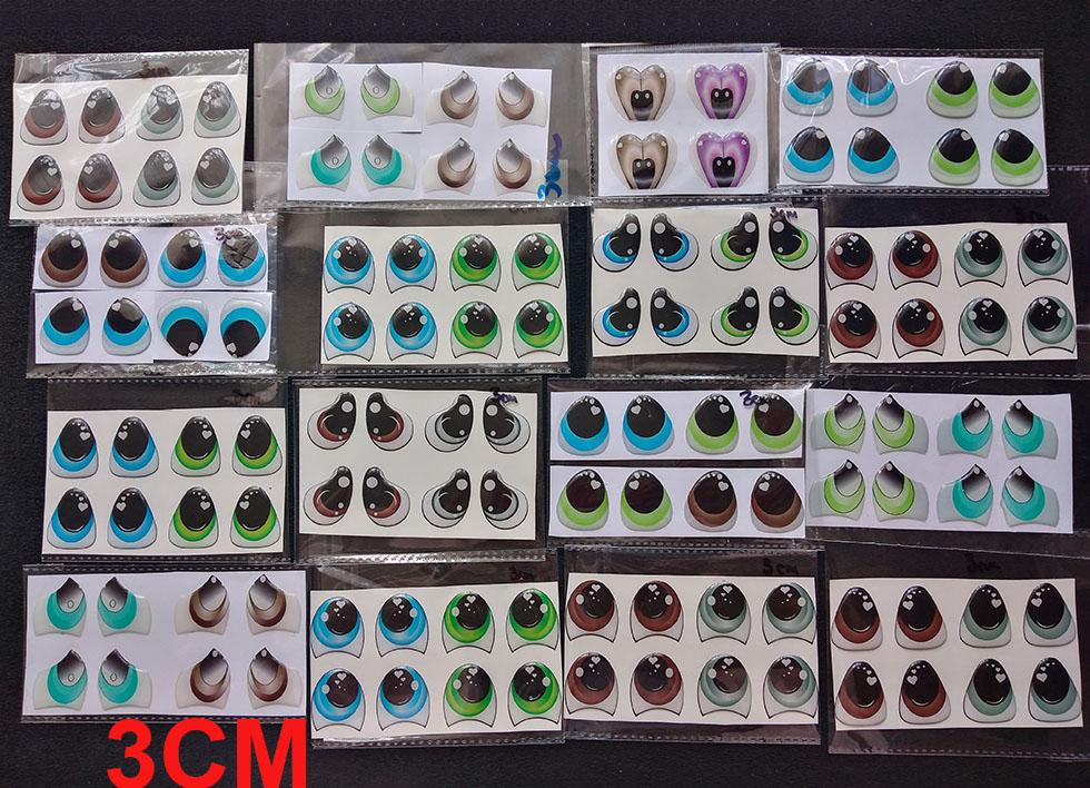 Ojos 3d adhesivos para muñecos en pasta fria y artesanías goma e