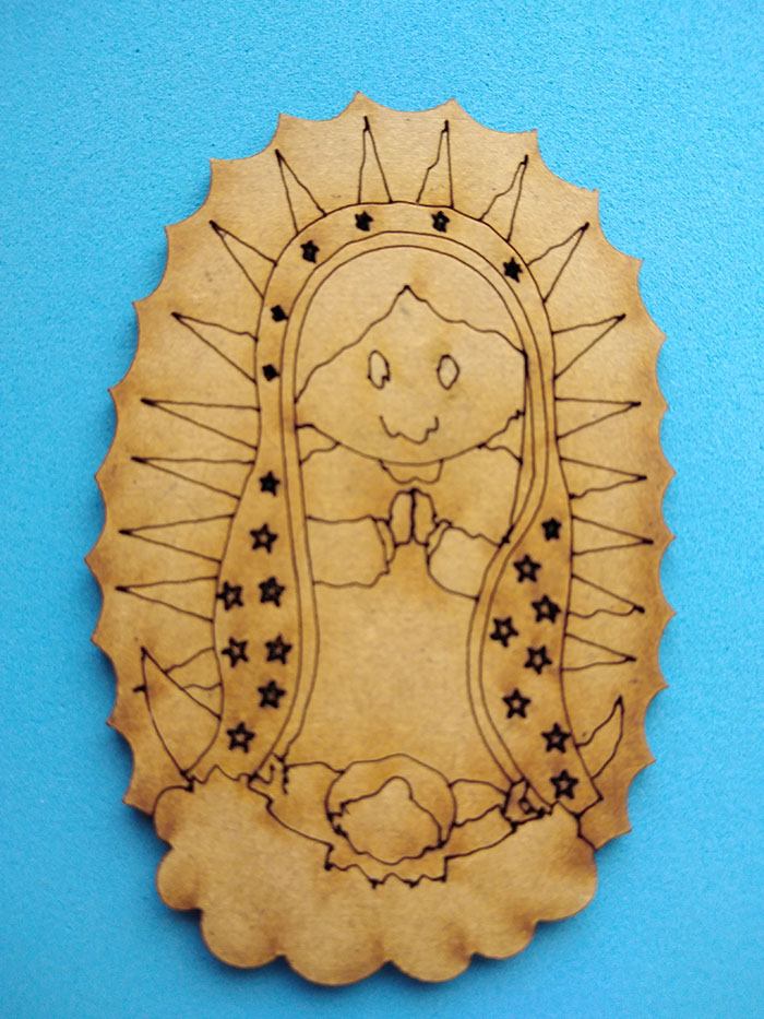 Plantilla Virgen de Guadalupe Tabla de madera mdf ovalada