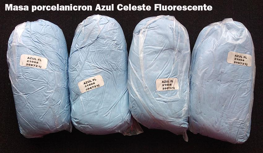 Masa porcelanicrón Azul Celeste fluorescente para artesanías esc