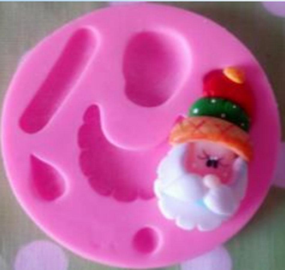 Molde en silicona Cara santa Papá Noel Navidad N10 para tortas y ar