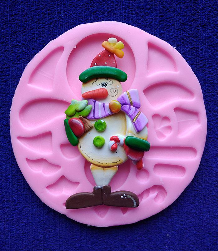 Molde en Silicona muñeco de nieve para Navidad para apliques