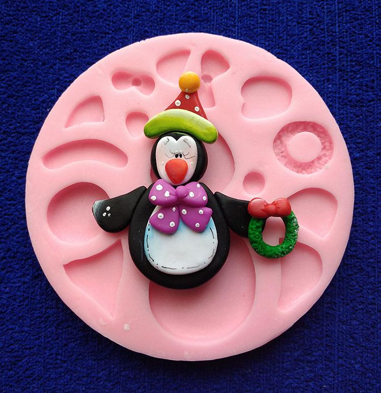 Molde Silicona pingüino de Navidad para fondant pasta fría foami