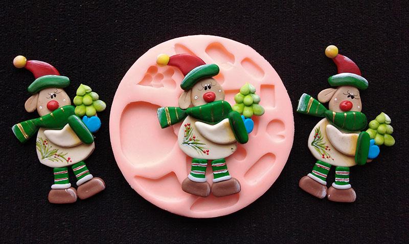 Molde Silicona reno con Arbolito para prendedor navidad y artesanías
