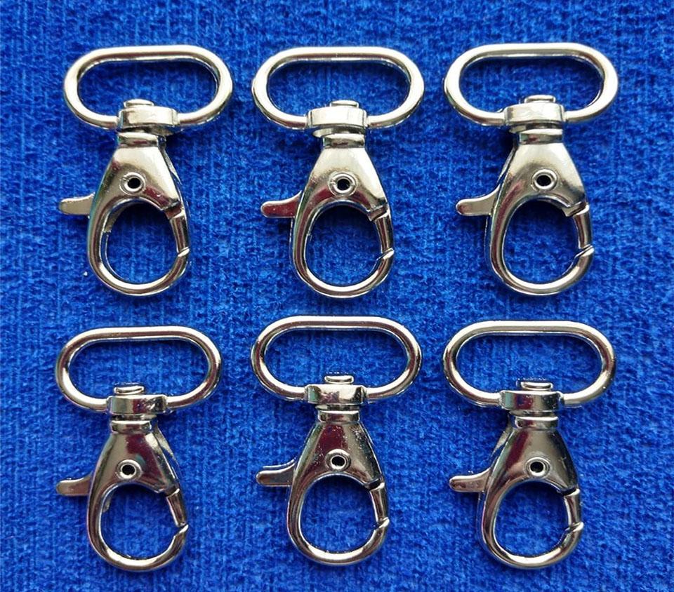Set Mosquetón plateado giratorio para llaveros de 3.8cm 6pz
