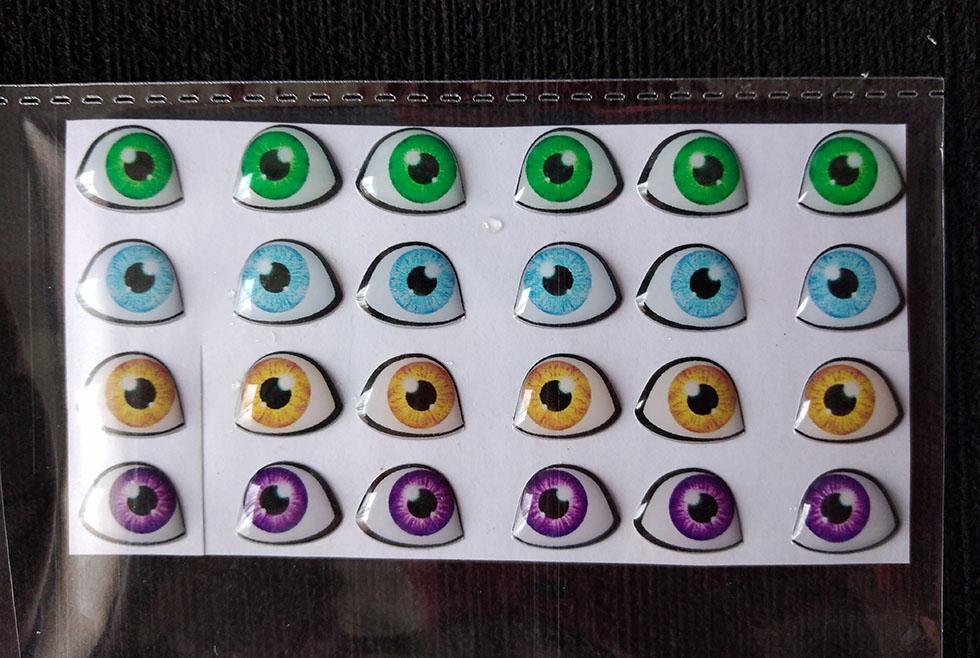 Ojos adhesivos 1cm para muñecas grandes en fomy goma eva