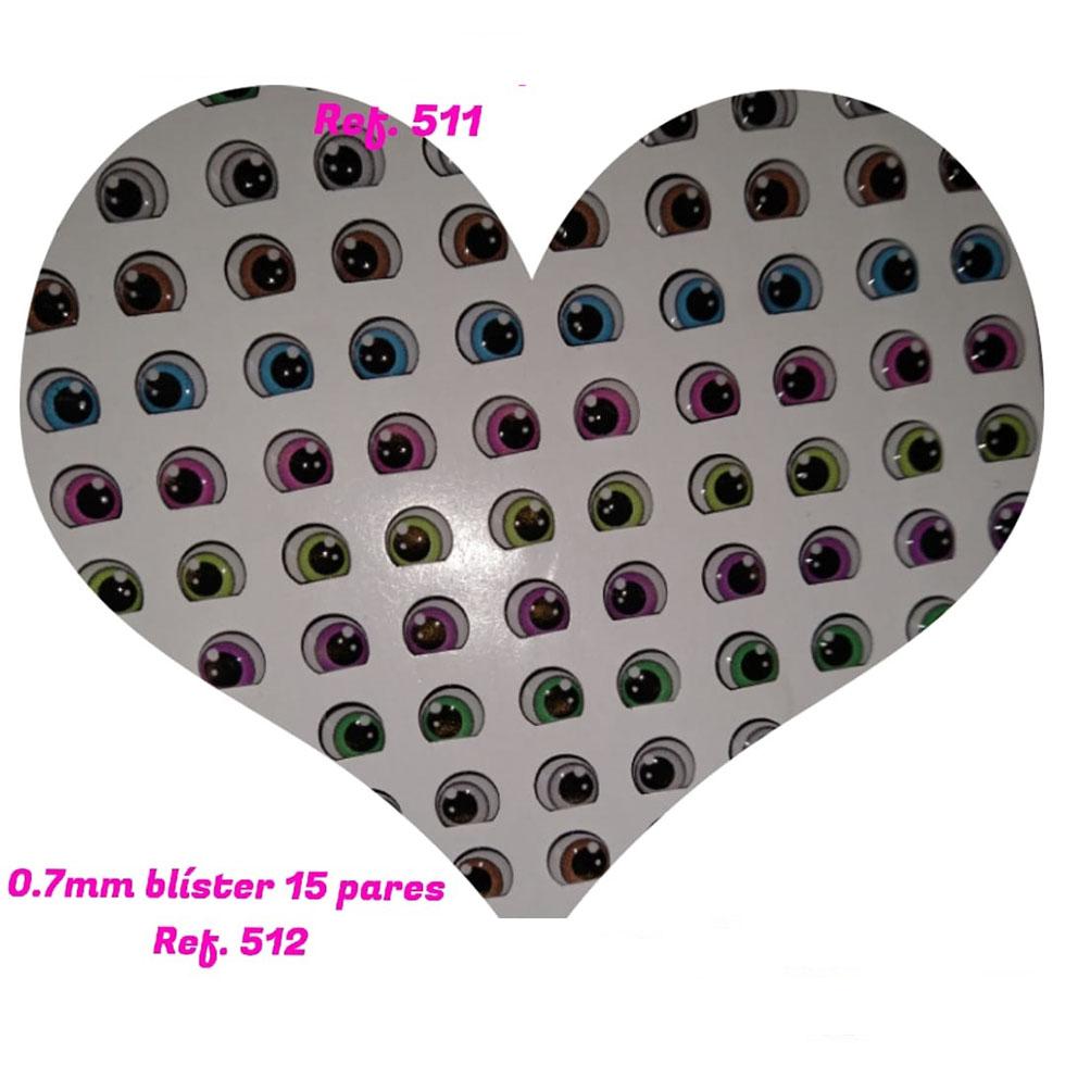 Ojos adhesivos Resinados de 7mm para muñecas y artesanías po