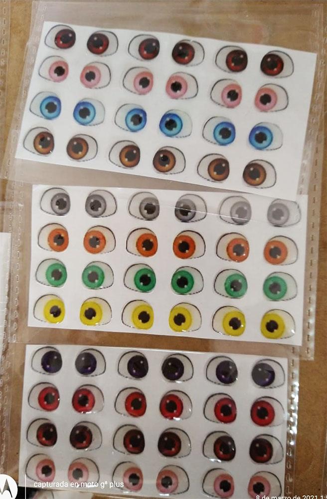 Ojos adhesivos Lol Resinados 3D de 5mm para muñecos en porcelanicron