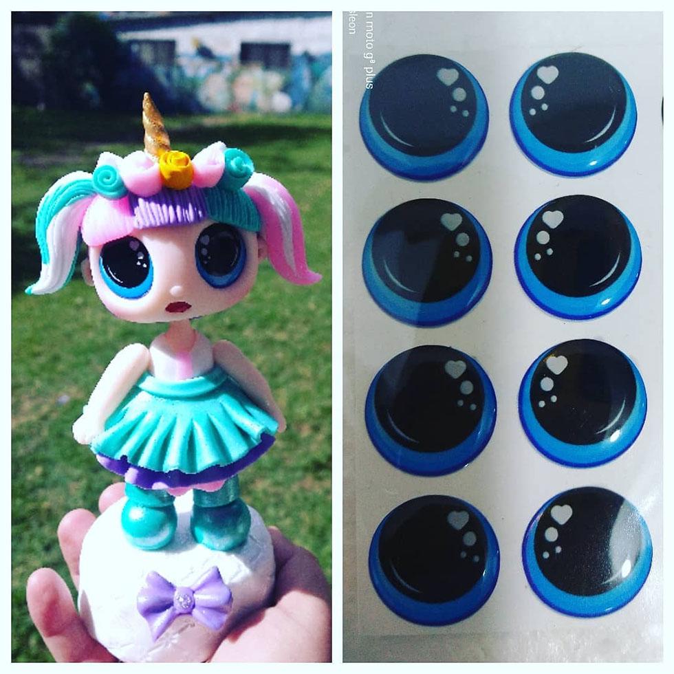 Ojos 3d  Adhesivos Resinados 3d Despegables Sticker Para Muñecos