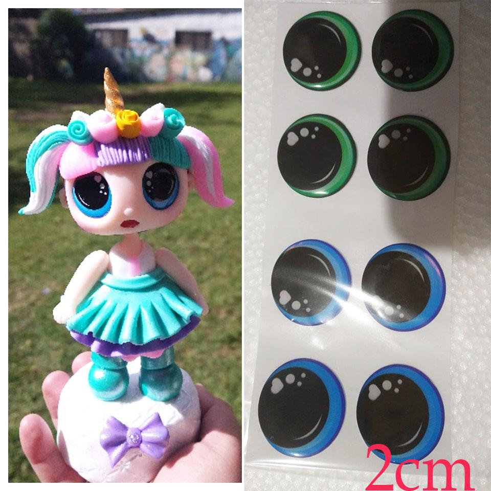Ojos adhesivos 2cm grandes para muñecas Lol grandes en fomy goma ev