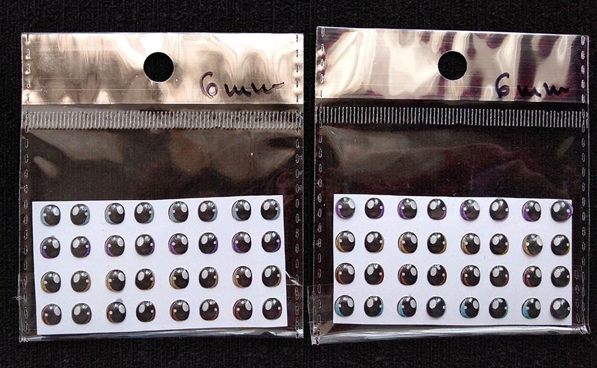 Ojos adhesivos resinados 6mm para muñeco en fomy goma eva pasta