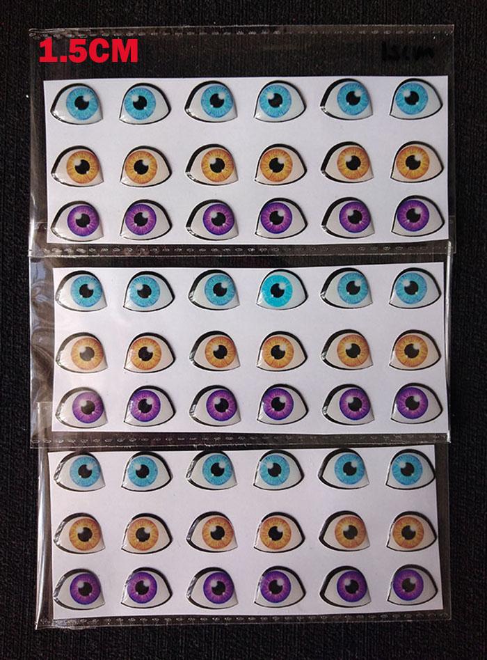 Ojos 3d adhesivos resinados 1.5cm estilos para muñecos en pasta