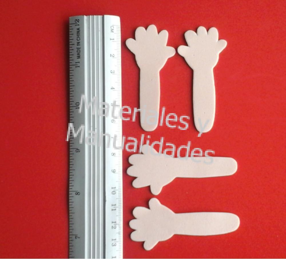 figuras goma eva brazos con manos abiertas para muñecos