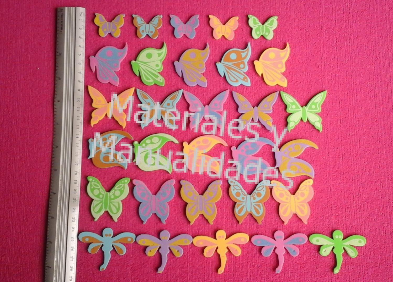 Figuras en fomy Mariposa y Libélulas manualidades goma eva